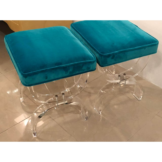 Blue Vintage Hollywood Regency Blue Velvet Lucite X Benches Stools -A Pair For Sale - Image 8 of 13