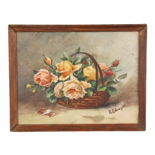 Frame With Watercolor of Flowers by Exbrayat, France 20th Century For Sale