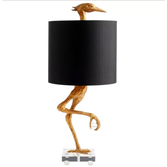 Aged Gold Bird Lamp With Black Shade For Sale - Image 11 of 11