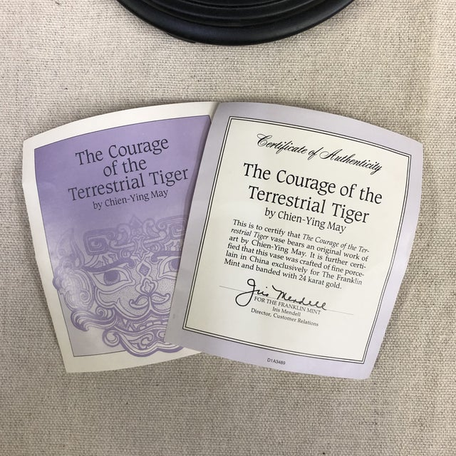 White Franklin Mint Oriental Porcelain Jardiniere - Courage of the Terrestrial Tiger For Sale - Image 8 of 12