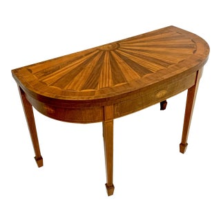 Baker Furn. Historic Charleston Collection Demilune Games Table For Sale