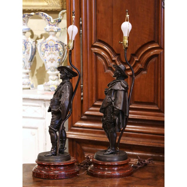 19th Century French Spelter Renaissance Figures Made Into Table Lamps - a Pair For Sale - Image 4 of 13