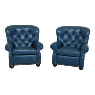 Pair Ethan Allen Blue Leather Recliner Living Room Chairs For Sale