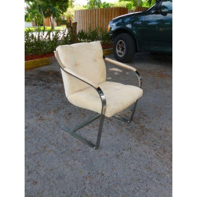 White 1970's Mid-Century Modern Brueton Heavy Thick Chromed Steel Arm Chairs - Set of 4 For Sale - Image 8 of 11