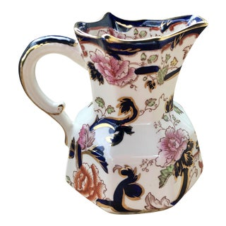 Mason's Mandalay English Ironstone Gold Floral Porcelain Pitcher For Sale