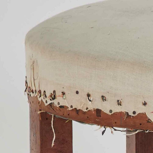 Wooden Stool Upholstered in Linen From Late 19th Century France For Sale - Image 4 of 5