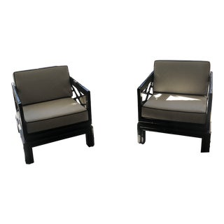 1960s Vintage Black Sun Room Chairs - A Pair For Sale