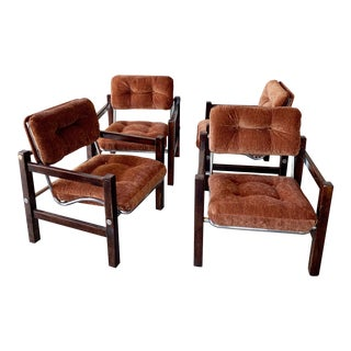 Mid Century Chrome and Rosewood Conference Chairs - Set of 4 For Sale