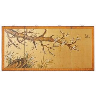 Japanese Four-Panel Screen Flowering Plum Tree For Sale