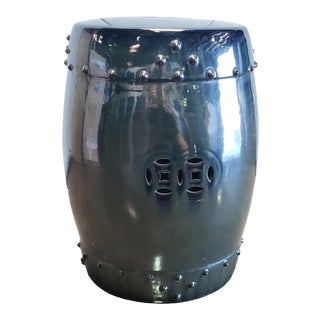 Legend of Asia Ceramic Garden Stool in Metallic Black For Sale