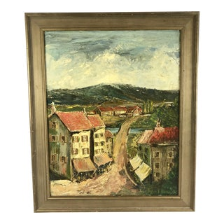 1974 Vintage Peyton Massey Jr Landscape With Town in Mountains Oil Painting For Sale