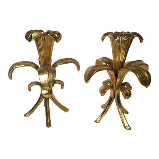 Vintage Mid-Century Metal Flower Candleholders - A Pair For Sale