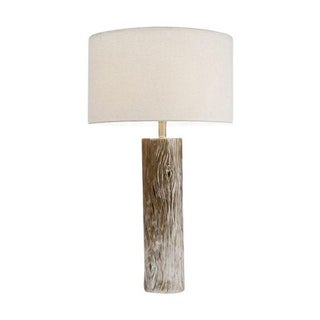 Silver Cermaic Faux Bois Table Lamp