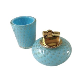 Barovier & Toso Murano Glass and Brass Lighter and Cigarette Holder - 2 Piece Set For Sale