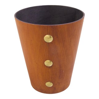 Mid-Century Wood with Brass Waste Basket For Sale