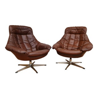 1970s Vintage Danish Design Henry Walter Klein High-Backed Armchairs - A Pair For Sale