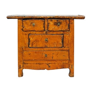 Chinese Rustic Distressed Orange Wood Cabinet