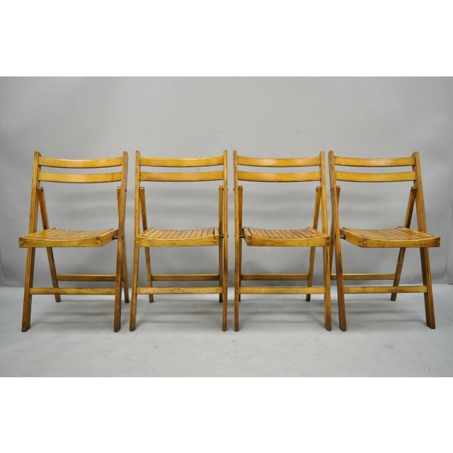 Orange 1950s Vintage Wood Slat Folding Dining Game Chairs- Set of 4 For Sale - Image 8 of 11