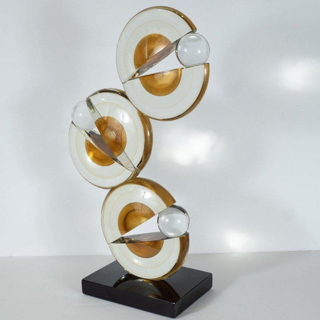 Early 21st Century Modernist Handblown Murano Glass Geometric Sculpture With 24-Karat Gold Flecks For Sale - Image 5 of 8