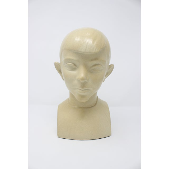 Art Deco Waylande Gregory Art Deco Ceramic Boy Bust For Sale - Image 3 of 9