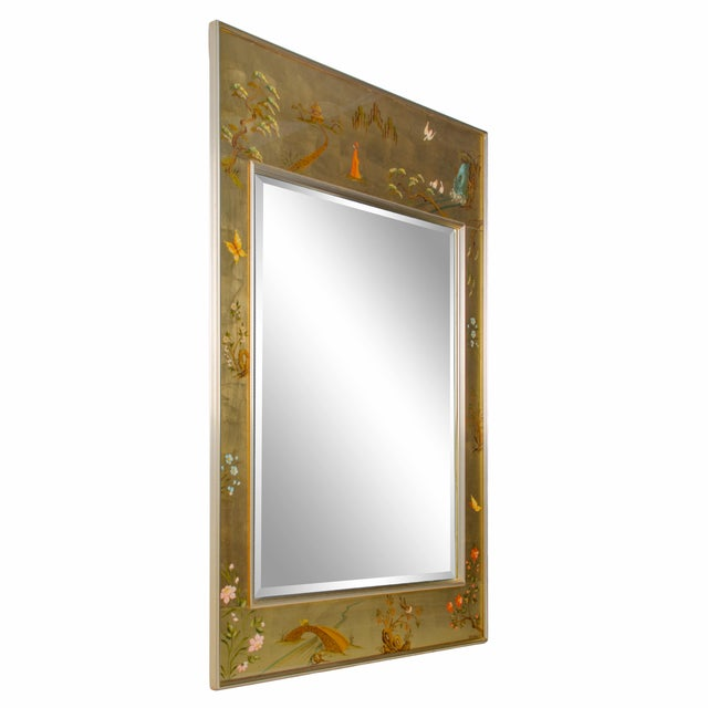 Vintage Labarge hand-painted églomisé chinoiserie mirror Signed by the artist and dated, K. Scherbach 1978.