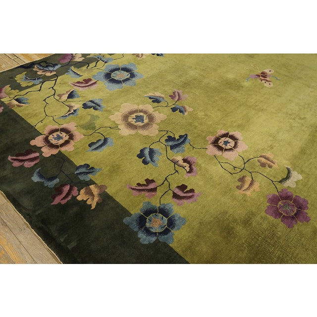 Green Antique Chinese Art Deco Rug For Sale - Image 8 of 13