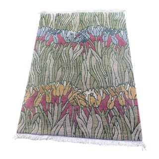 Hand Tied Floral Rug, 1970s For Sale