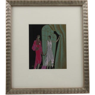 Original French Art Deco Ink and Gouache Illustration Drawing by J. Hilly For Sale