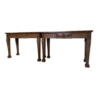 Mid Century Carved Pine Consoles - a Pair For Sale