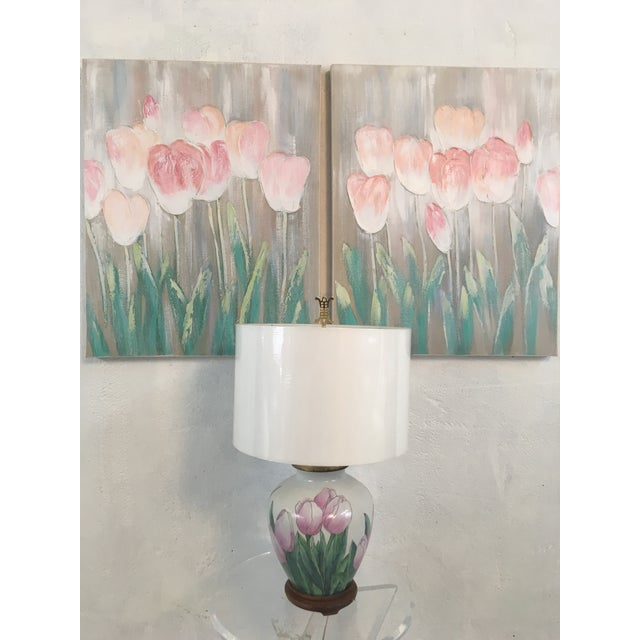 Ceramic Vintage Tulip Lamp With New Shade For Sale - Image 7 of 8