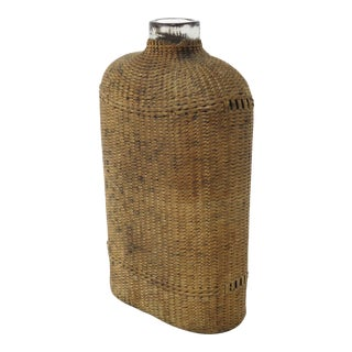 Mid 19th Century Hand Woven Basket Over Glass Hip Flask For Sale