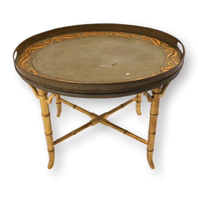 Vintage Italian Tole Table on Gold Bamboo Stand For Sale - Image 11 of 11