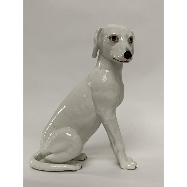 Final Markdown Large Italian White Ceramic Greyhound Dog Puppy Figure For Sale - Image 13 of 13