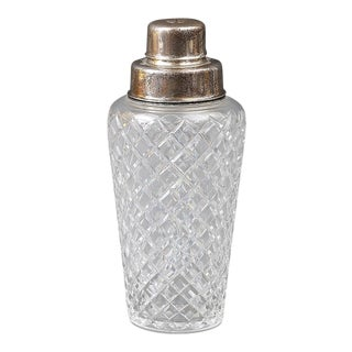 Silver Cut Glass Cocktail Shaker For Sale
