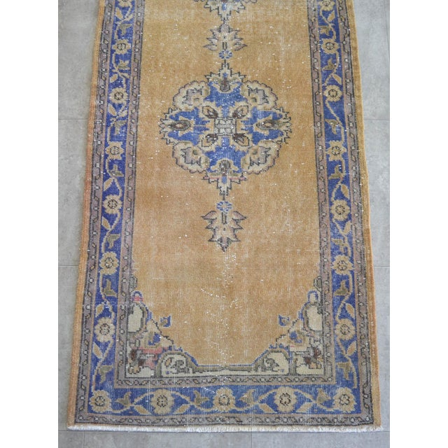 Textile Traditional Design Distressed Oushak Runner Rug Faded Colors Low Pile - 2'12″ X 10'10″ For Sale - Image 7 of 10