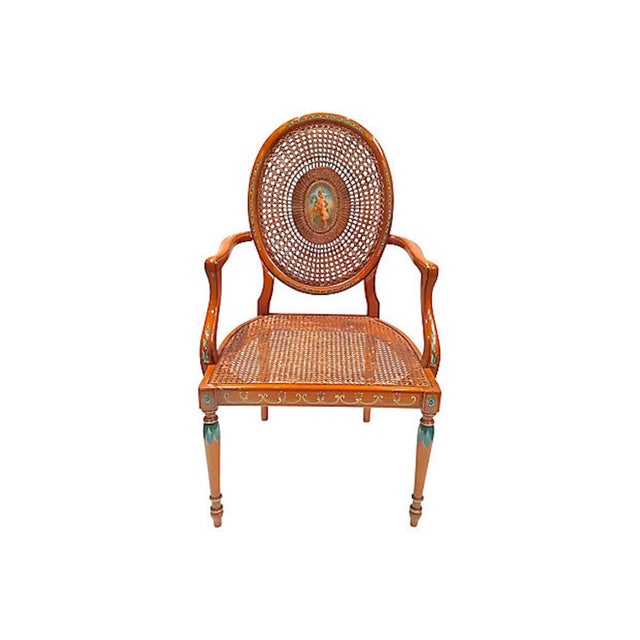 Early 20th Century Vintage Cherub Medallion Hand-Painted Armchair For Sale - Image 9 of 9