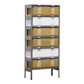 Custom Made 1 X 6 Locker Basket Unit With Specialty Double-Wide Baskets, Natural Steel, Brass and Gloss White For Sale