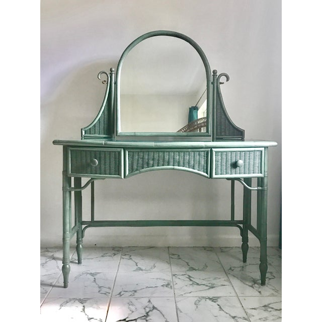 Lane Furniture Co. Rattan Cheval Mirrored Vanity Dressing Table & Chair Set - Image 7 of 11