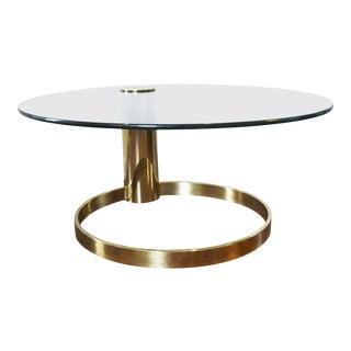 Modernist Brass and Glass Coffee Table by John Mascheroni For Sale
