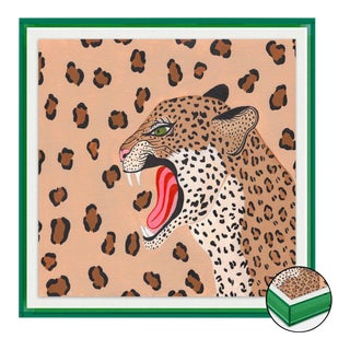 Vanessa the Leopard by Willa Heart in Dark Green Transparent Acrylic Shadow Box, Medium Art Print For Sale