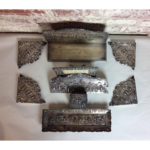 Antique Silver Plated Calendar Desk Set - 9 Pieces For Sale In Los Angeles - Image 6 of 10
