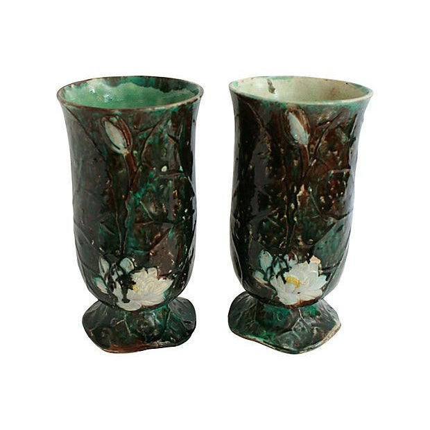 Antique Holdcroft Majolica Vases - a Pair - Image 3 of 6