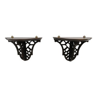 1990s Traditional Pierce Carved Mahogany Hanging Wall Shelves - a Pair For Sale