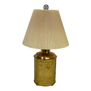 Vintage Polished Brass Engraved Tea Canister Table Lamp For Sale