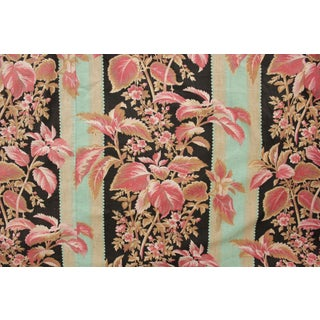 Fabric Antique French Black & Teal Stripes W/ Red Pink Florals 1880 Belle Epoque For Sale
