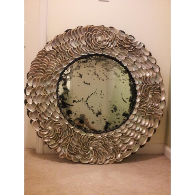 Abalones Shell Mirror With Antique Glass For Sale - Image 11 of 12