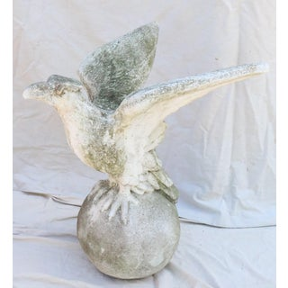 Vintage Mid Century English Cast Stone Garden Eagle Statue Preview