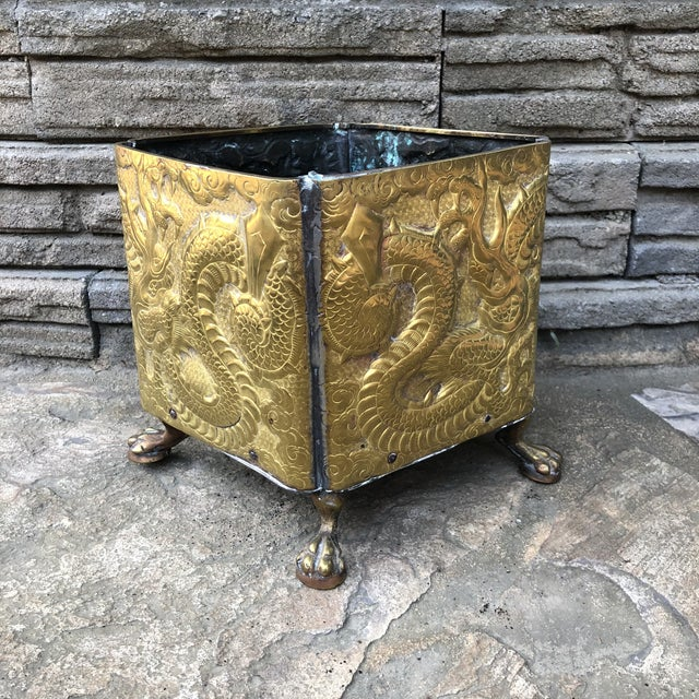 20th Century Chinese Embossed Dragon Footed Brass Planter For Sale - Image 9 of 9
