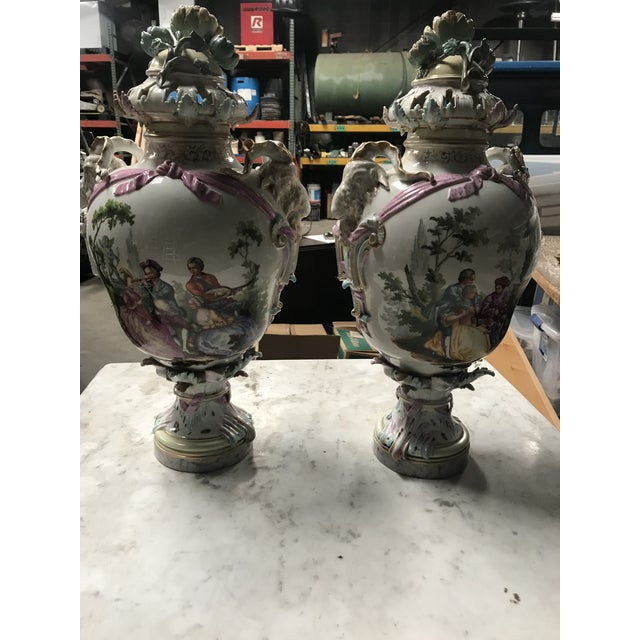 19th Century Large Porcelain Urns/Bases - a Pair For Sale In New Orleans - Image 6 of 12
