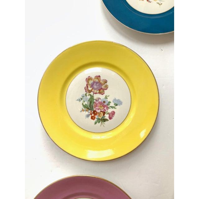 Richard Ginori Vintage Richard Ginori Italy, Multicolored Porcelain Salad / Dessert Plates, Flower Patterns , Set of 5 For Sale - Image 4 of 13